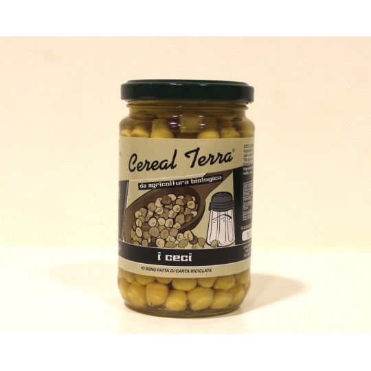 Organic natural Chickpeas in glass jar 300gr