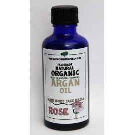 Rose Otto & fair trade organic raw cold pressed cosmetic Argan Oil.